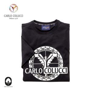 He.-t-shirt mit silbernen carlo colucci druck schwarz