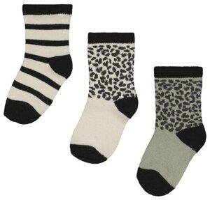 HEMA 3er-Pack Baby-Socken Mit Bambus, Punkte/Streifen Grün