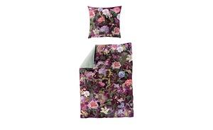 Bierbaum Mako Satin Wendebettwäsche   Floral - lila/violett - 100% Baumwolle - Bettwaren