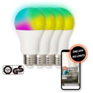 essentials WLAN Glühbirne für Smart Home 10W, Alexa kompatibel E27 [4er Set]