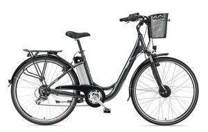 Telefunken Damen City E-Bike RC820 Multitalent mit 7-Gang Shimano Kettenschaltung anthrazit