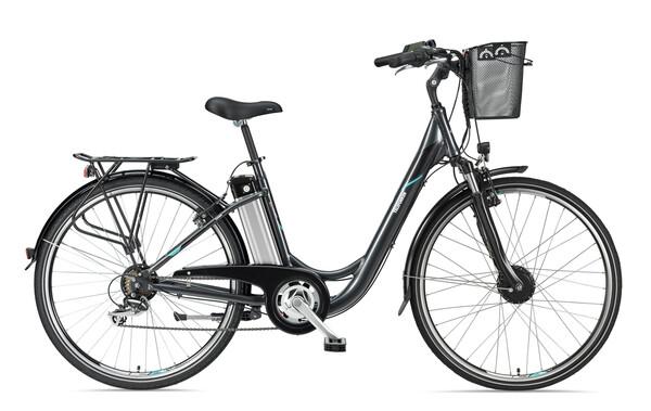 Telefunken Damen City E-Bike RC820 Multitalent mit 7-Gang Shimano Kettenschaltung anthrazit