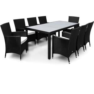 Casaria Polyrattangarnitur 8+1 mit Sitzauflage schwarz-creme