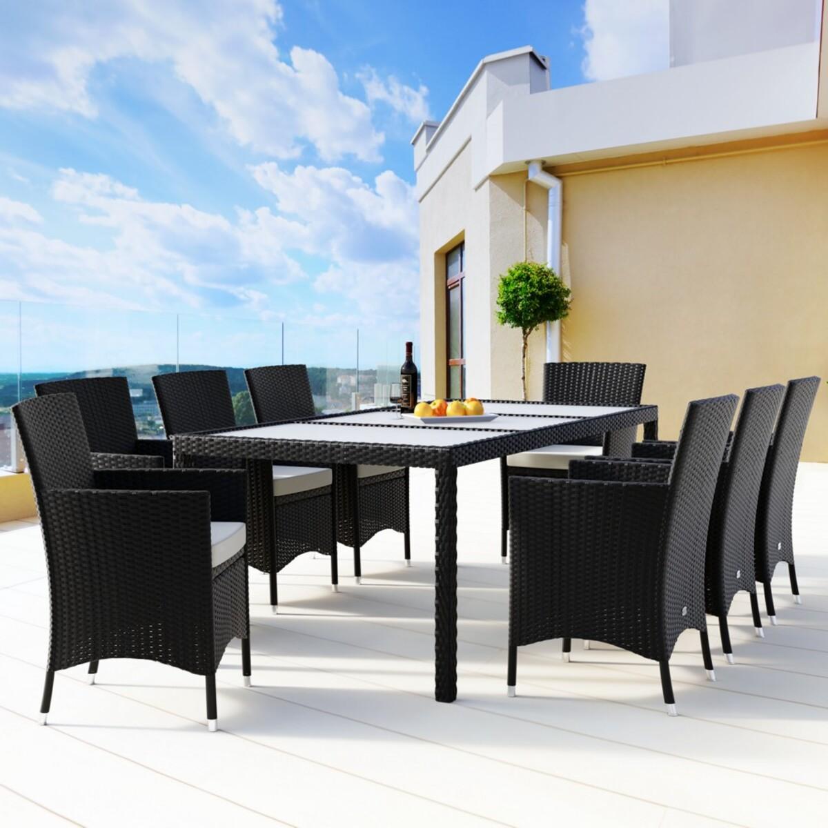 Bild 2 von Casaria Polyrattangarnitur 8+1 mit Sitzauflage schwarz-creme