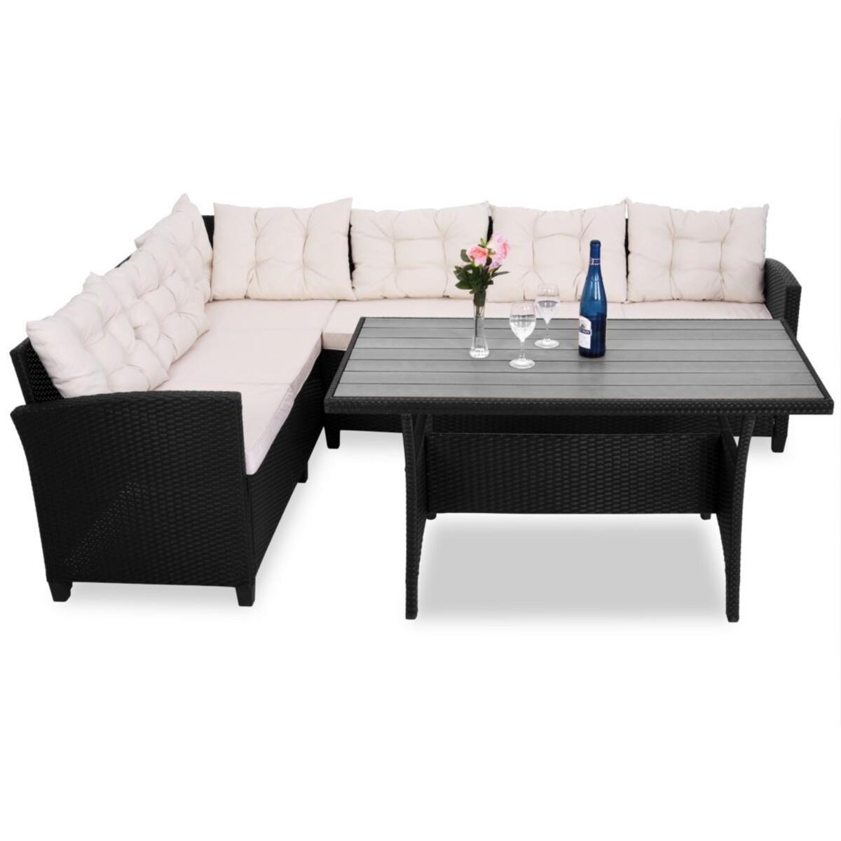 Bild 2 von Casaria Rattan Ecklounge M mit Sitzauflage schwarz-creme