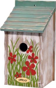 dobar Nistkasten mit Blumenmotiv, blaugrünes Dach