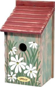 dobar Nistkasten mit Blumenmotiv, rotes Dach