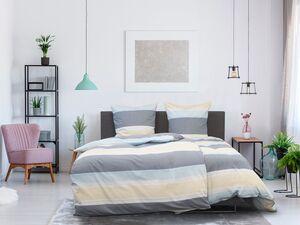 Dobnig Satin Bettwäsche »Querstreifen dunkelblau-zitronengelb«, 135x200 cm oder 155x220 cm, aus Baumwolle