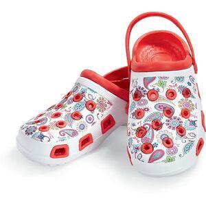 Damen oder Herren Clogs, verschiedene Ausführungen & Größen - Damen Clogs, rot mit Blumen, Gr. 41