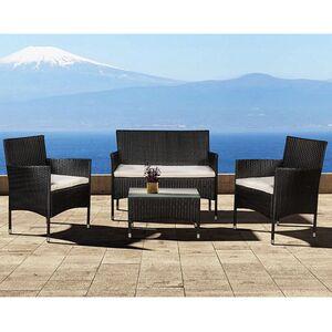 Polyrattan Gartenmöbel-Set Fort Myers schwarz mit Tisch, Sofa, 2 Stühle & Auflagen   Juskys