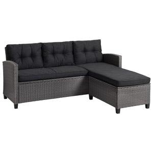 Lounge-Sofa MORA (3-Sitzer, grau, mit Chaiselongue)
