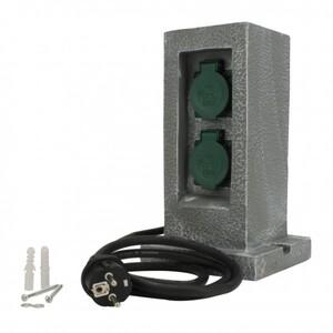Steckdosen-Verteiler Granit ,  2 Steckdosen, 1 mechanische Zeitschaltuhr, 1,5 m Zuleitung