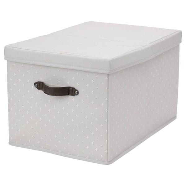 BLÄDDRARE Kasten mit Deckel, grau/gemustert