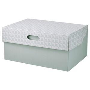 HYVENS Kasten mit Deckel, graugrün weiß/Papier