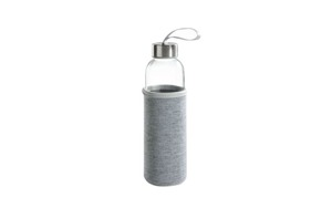 Glasflasche mit Stoffbezug in grau, 500 ml