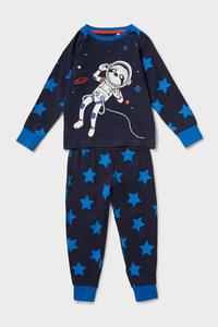 C&A Pyjama-Bio-Baumwolle-2 teilig-Glow in the dark, Blau, Größe: 92