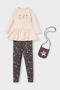 C&A Set-Langarmshirt, Leggings und Tasche-Bio-Baumwolle, Weiß, Größe: 92