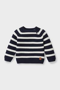 C&A Baby-Pullover-Bio-Baumwolle-gestreift, Blau, Größe: 80