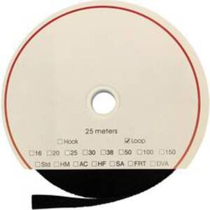 FASTECH® T0202599990325 Klettband zum Aufkleben Hotmelt Flauschteil (L x B) 25000 mm x 25 mm Schwarz 25 m