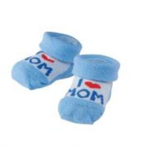 Camano Erstlingssocken I Love Mom Jungen blau