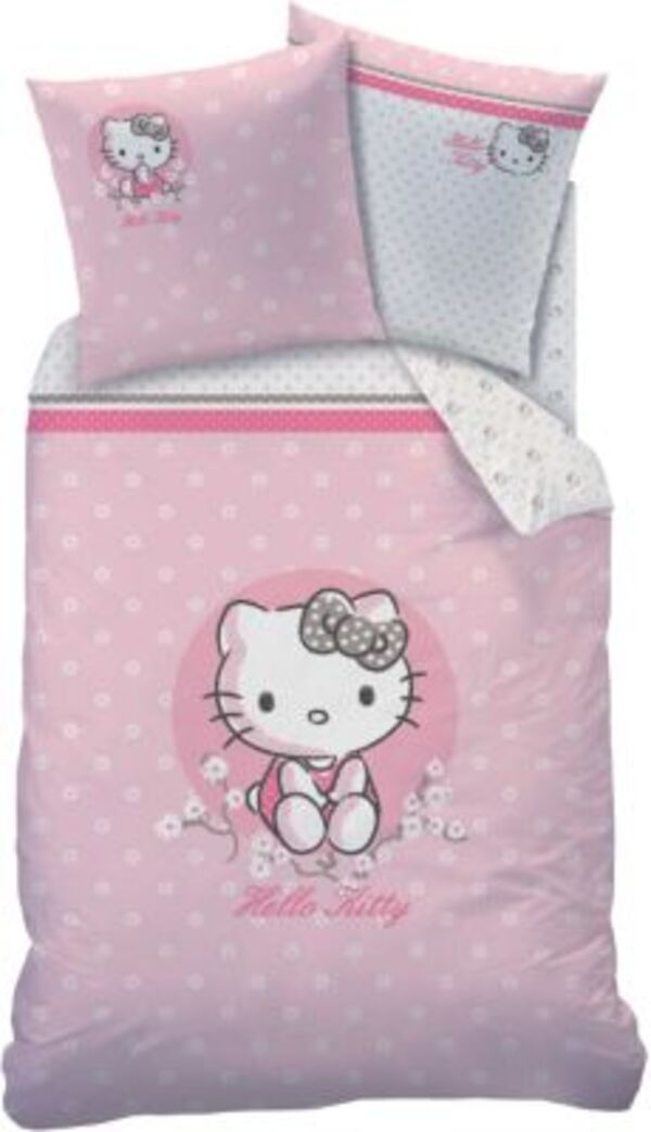 Wende- Kinderbettwäsche Hello Kitty, Renforcé, 135 x 200 cm Gr. 135 x 200 + 80 x 80