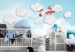 Wandsticker Wolken, 3D Set, 7-tlg. weiß