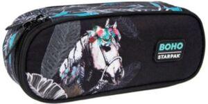 Etuibox BOHO Pferd, unbefüllt schwarz/petrol Mädchen Kinder