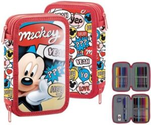 Doppel-Federmäppchen Mickey Mouse, befüllt bunt