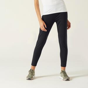 Jogginghose leicht Fitness Karottenform schwarz