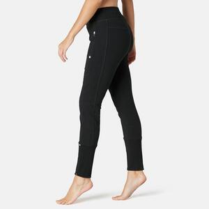 Jogginghose Fitness Reissverschluss am Beinabschluss Slim Damen schwarz
