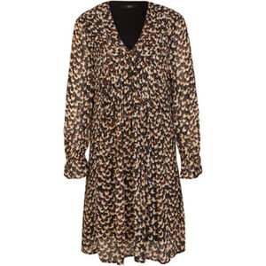 S.Oliver Black Label Viskose-Kleid, V-Ausschnitt, Allover-Muster, für Damen