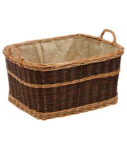 Weiden-Kaminkorb mit Jute, dunkel, 60 x 47 cm