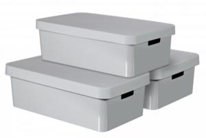 Curver 3er Set Infinitiy Box mit Deckel 30L, hellgrau