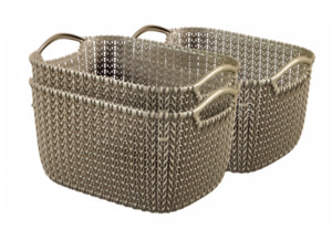 Curver 3er Set Knit Korb S, braun