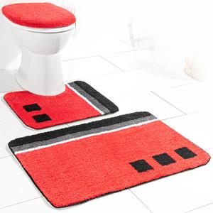 Sensino Badezimmer-Garnitur für Stand-WC, 3-tlg. - Rot Olivera
