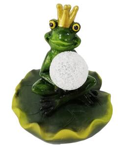 Dehner Polyresin-Schwimmender Froschkönig mit Solar, ca. Ø 15/H16 cm