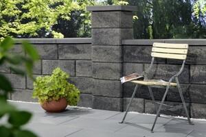 Primaster Gartenmauer Pfeilerelement grau-anthrazit, 37,5 x 37,5 x 20 cm