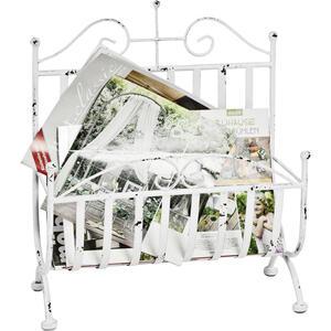 XXXLutz Zeitungsständer metall weiß  , Hanne , 37x44x18 cm , antik, lackiert , 001931049004