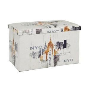 Carryhome Truhe textil  , Manhattan , Multicolor, Weiß , 65x40x40 cm , Vliesstoff,Nachbildung , faltbar, geeignet zum Sitzen , 001931030401