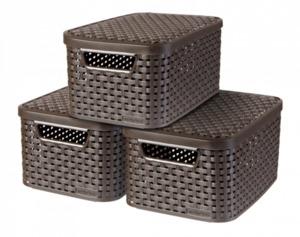 Curver 3er Set Style Box S mit Deckel, dunkelbraun