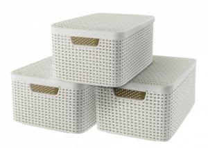 Curver 3er Set Style Box M mit Deckel, creme