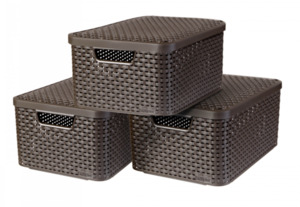 Curver 3er Set Style Box M mit Deckel, dunkelbraun