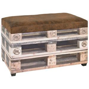Carryhome Truhenbank lederlook braun, creme  , Palette , Textil , 65x42x40 cm , bedruckt,softmatt,Lederlook,Nachbildung , 001931024101