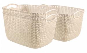 Curver 3er Set Knit Korb L, weiß