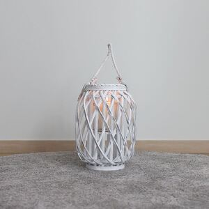 Bambuslaterne mit Glaswindlicht 23x30cm White-Washed
