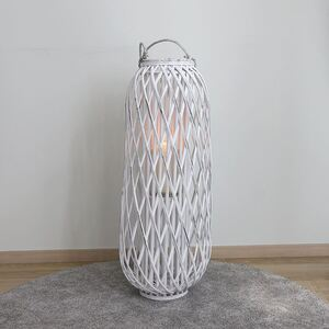 Bambuslaterne mit Glaswindlicht 34x90cm White-Washed