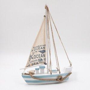 Deko LED-Segelboot, ca. 22 x 5 x 32 cm, batteriebetrieben, blau