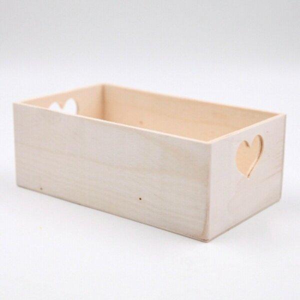 "Holzbox/Holzkiste ""Herz"", ca. 20 x 7,5 x 12 cm, Holz, natur"