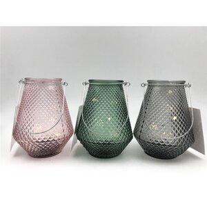 LED-Windlicht, mit 5 LEDs und Henkel, strukturiertes Glas, verschiedene Farben