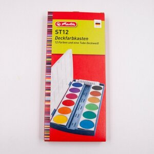 Herlitz Deckfarbkasten, 12 Farben + Deckweiß